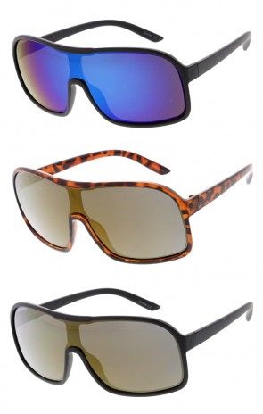 Oversized Retro Aviator Mono Mirror Lens Wholesale Sunglasses