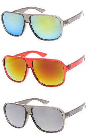 Oversized Mirror Lens Sport Aviator Wholesale Sunglasses