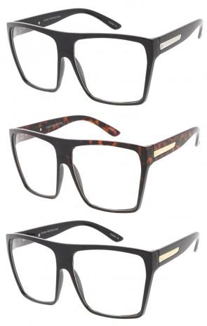 Large Designer Urban Block Wholesale Glasses with Metal Details