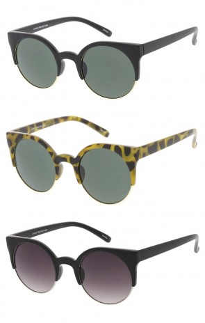 8381b9923 Round Medium Half Frame Cat Eye Wholesale Sunglasses