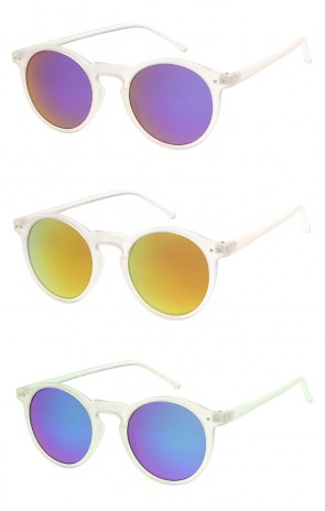 Trendy Retro Frosted Mirror Round Lens Wholesale Sunglasses
