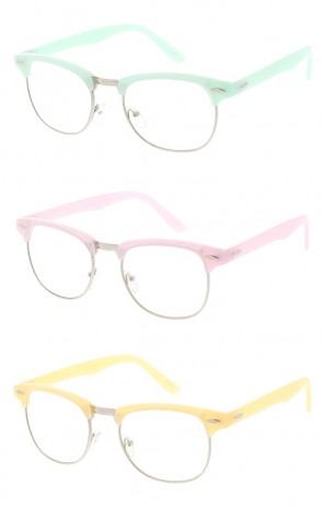 Small Semi Rimless Pastel Clear Frame Sunglasses