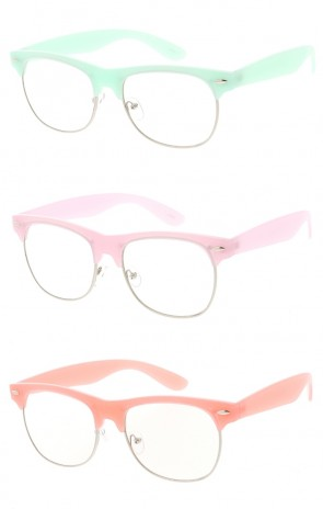 Medium Semi Rimless Pastel Clear Frame Sunglasses