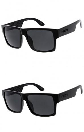 Men's KUSH Flat Top Horn Rimmed Textured Wide Arm Wholesale Sunglasses