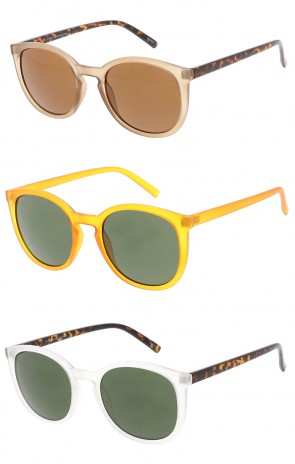 Horned Rim Key Hole Round Wholesale Sunglasses