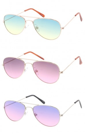Kids Color Lens Aviators Wholesale Sunglasses