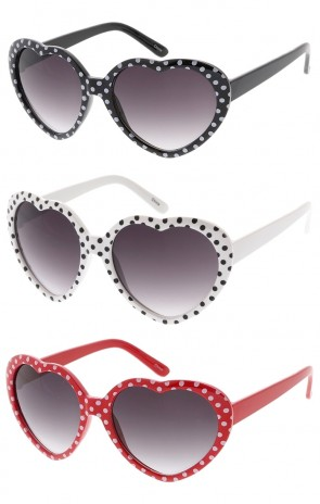 Kids Classic Heart Shaped Sunglasses w/ Polka Dots Wholesale