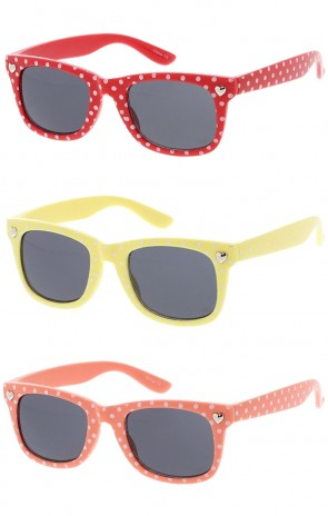 Kids Horn Rimmed Colorful Polka Dot Print Wholesale Sunglasses