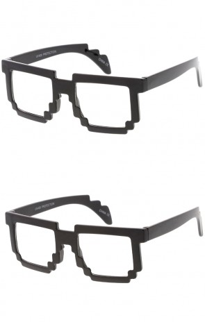 Kids Pixel Horn Rimmed Wholesale Clear Lens Glasses