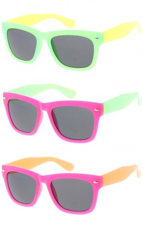 Kids Two Tone Horn Rimmed Wholesale Sunglasses