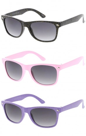 Kids Glitter Horn Rimmed Wholesale Sunglasses