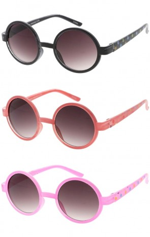 Kids Round Retro Poka Dot Arms Wholesale Sunglasses