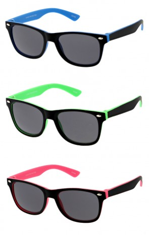 Kids Soft Finish Smoke Lens Horn Rimmed Wholesale Sunglasses