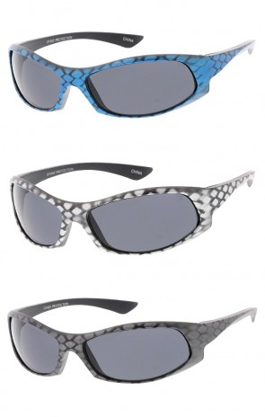 Kids Sports Wrap Matte Snake Skin Wholesale Sunglasses