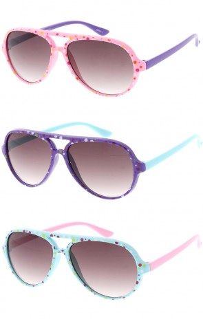 Kids Flat Top Aviator with Color Poka Dots Wholesale Sunglasses