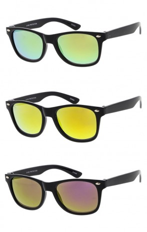 Kids Mirror Lens Horn Rimmed Wholesale Sunglasses