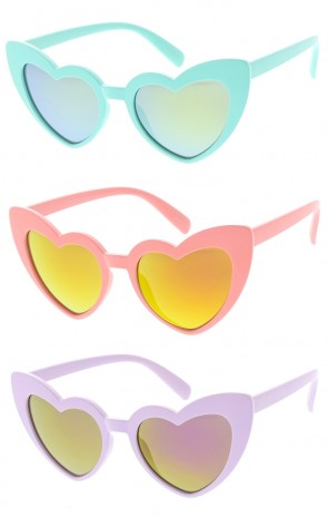 Kids Heart Framed Mirror Lens Wholesale Sunglasses