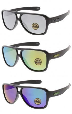 KUSH Brand Plastic Aviator Polarized Lens Mens Wholesale Sunglasses