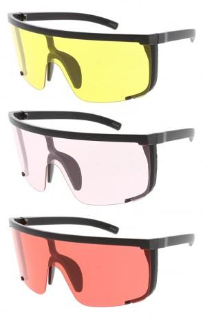 Oversized Half Shield One Piece Color Lens Wholesale Sunglasses