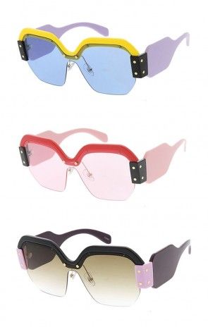 Oversized Fashion Chunky Half Frame Womens Wholesale Sunglasses