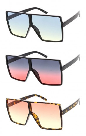 Wholesale Oversized Square Gradient Lens Sunglasses