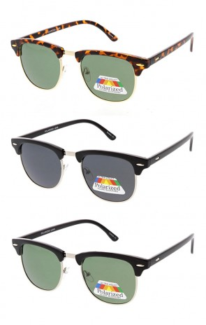 Polarized Half Frame Horn Rimmed Wholesale Sunglasses