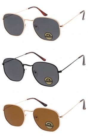 Polarized Unisex Small Hexagon Metal Frame Classic Wholesale Sunglasses