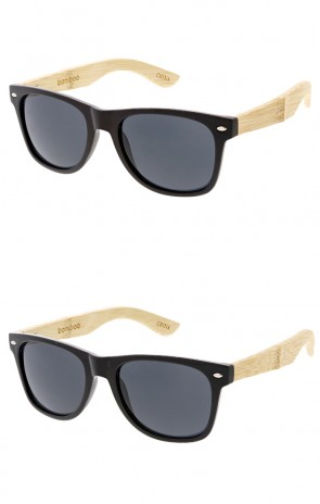 Bamboo Wood Temple Horned Rim Wholesale Sunglasses