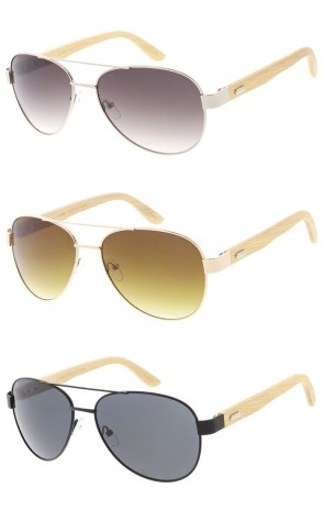 Large Aviators Wood Arms Wholesale Sunglasses