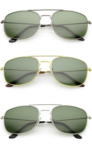 Retro Metal Square Aviator Green Tinted Glass Lens Wholesale Sunglasses