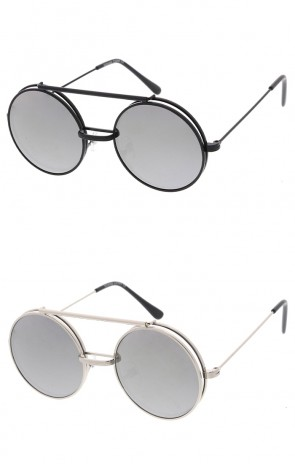 Retro Metal Round Flip Up Mirrored Flat Lens Wholesale Sunglasses
