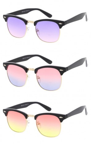Unisex Horn Rimmed Semi Rimless Color Tinted Gradient Lens Wholesale Sunglasses