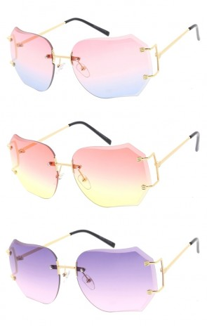 Oversize Rimless Square Gradient Color Tinted Lens Wholesale Sunglasses