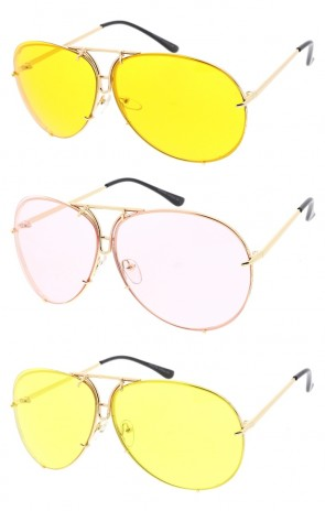 Oversize Gold Aviator Color Tinted Lens Wholesale Sunglasses