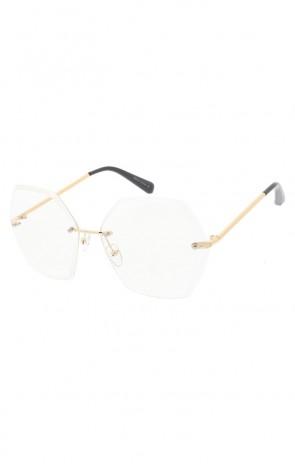 befeb45ce00 Women s Oversize Rimless Hexagon Clear Lens Wholesale Sunglasses