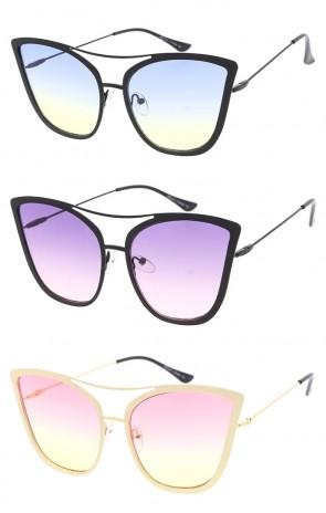 Oversize Women's Cat Eye Color Tinted Lens Wholesale Sunglasses