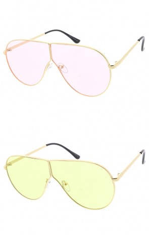 Oversize Metal Aviator Color Tinted Flat Lens Wholesale Sunglasses