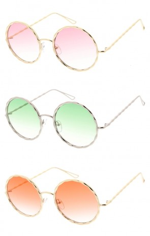 Oversize Textured Round Frame Color Tinted Gradient Lens Wholesale Sunglasses