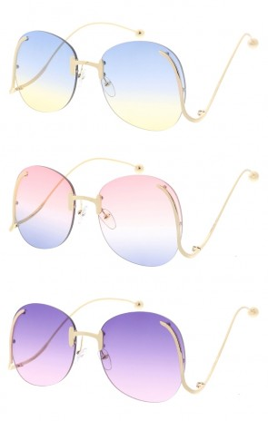 Women's Oversize Round Rimless Color Tinted Curved Arms Lens Whole Sunglasses