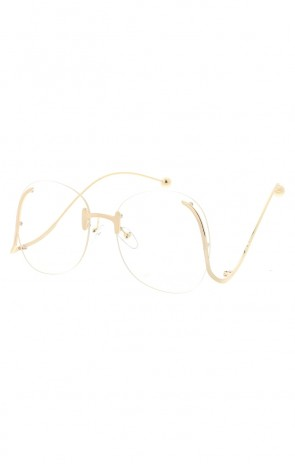 72ad78f85eb4 Women's Oversize Round Rimless Clear Lens Curved Arms Wholesale Sunglasses
