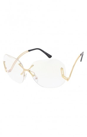 Women's X Bridge Clear Lens Rimless Oversize Wholesale Sunglasses