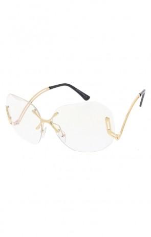 Women's X Bridge Clear Lens Rimless Oversize Wholesale Sunglasses