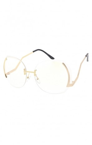 Women's Modern Clear Lens Rimless Oversize Wholesale Sunglasses