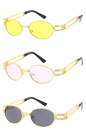 Retro Round Metal Oval Color Tinted Lens Wholesale Sunglasses