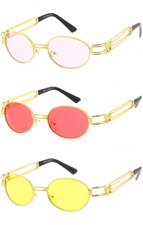 6b8841bac797c Retro Round Metal Oval Color Tinted Lens Wholesale Sunglasses