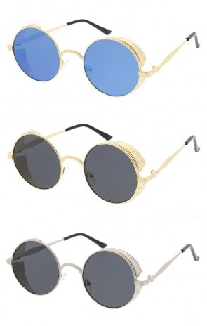 Retro Steampunk Metal Side Cover Round Flat Lens Wholesale Sunglasses