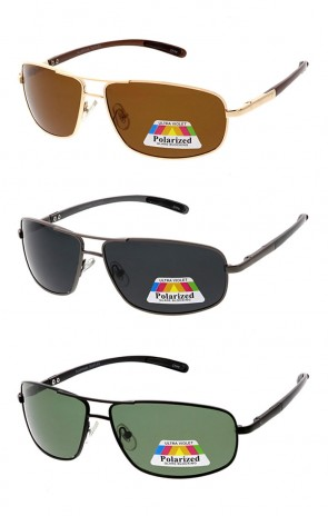 Polarized Aluminum Square Wrap Aviator Wholesale Sunglasses