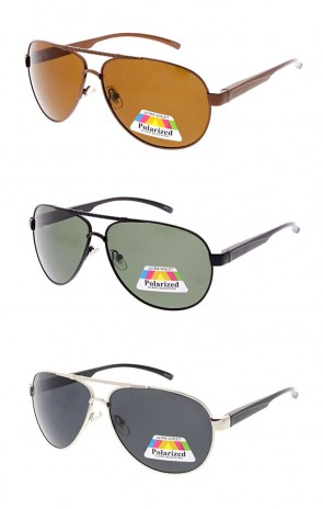 Polarized Aviator With Etched Brow Bar Wholesale Sunglasses