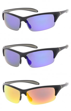 Semi Rimless TR-90 Wrap Sports Wholesale Sunglasses Rectangle Mirror Lens