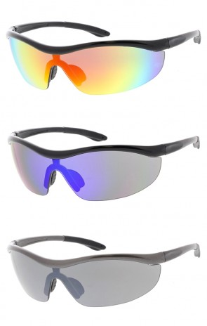 Semi Rimless TR-90 Sports Wrap Wholesale Sunglasses Colored Mirror Shield Lens